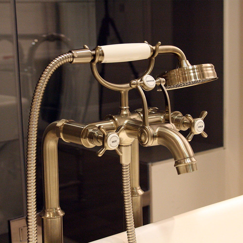 grifería de bañera de piso Axor MONTREUX Brushed Gold