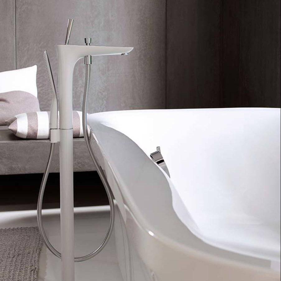 grifería de bañera de piso PURA VIDA blanco-cromo