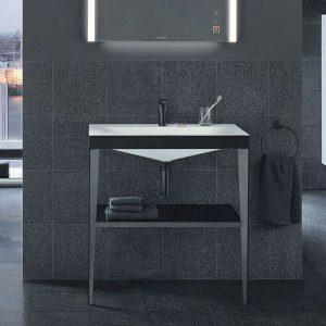 set lavamanos X-VIU con consola antracita y repisa de vidrio megra